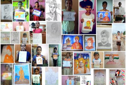 Drawings by participants of UB Day competitions 2020 at VK Madurai.